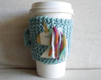 Unicorn Coffee Cozy, Mug Sweater, Coffee Sleeve, Mug Cozy / Seafoam Blue, Gold, Pink, Orange