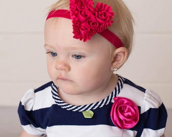 hot pink heart headband rosette headband baby headband girls headband toddler headband heart headband made to order MORE colors