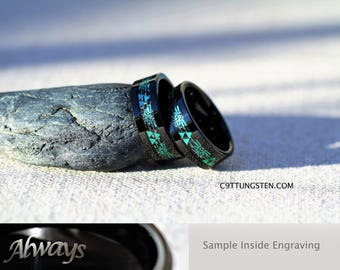 SUMMER SALE! 8mm Emerald GREEN Legend Of Zelda Tungsten Wedding Ring, Free Inside Engraving