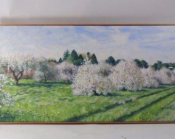Vintage Apple Orchard Landscape Panoramic Signed Oil Painting Wall Art