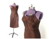 38 Brown slip, vintage slip, women's lingerie, full slip, acetate slip, size large slip, cocoa slip, mocha slip