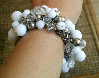 vintage chunky elastic bracelet lucite beads