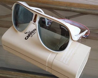 Vintage 80s CARRERA 5544 70 mirror Glacier leather sunglasses with case