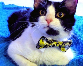 Gray and Yellow Bow Tie, Necktie, or Bow on a Shirt Style Collar for both Dogs & Cats