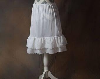 Double Layer Eyelet Lace Skirt/Dress Extender, Slip Lengthener
