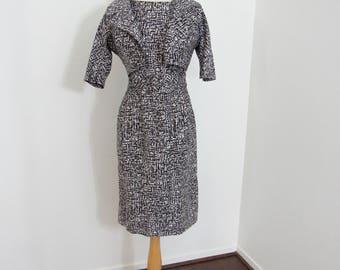 1950s I. Magnin Black & White Short-Sleeved Wiggle Dress with Matching Bolero
