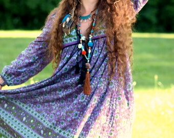 Shalimar Indian purple midi dress Bohemian cotton long maxi BOHO gauze tassel India gypsy festival puffy poet sleeve midi hippie gown Tunic