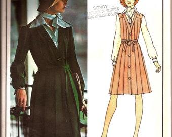 Vintage Vogue 2937 Paris Original 1960s Jean Patou Designer Dress Jumper and Shirt  / Size 12 / Coatdress Stitched Tucks / UNCUT with Label