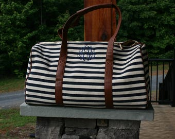 Monogrammed Navy Striped Personalized Weekender Duffle Bag