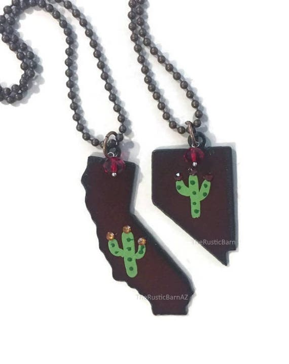 Hand Painted CALIFORNIA or NEVADA Cactus Rusted Metal Necklace