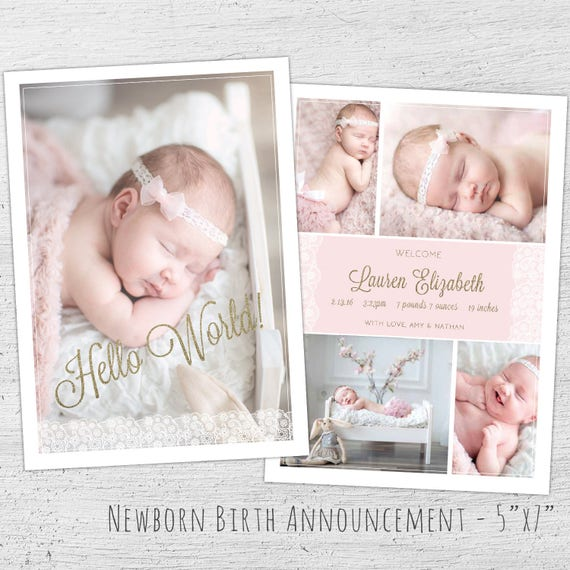 Newborn Announcement Template Photoshop Template New Baby Card