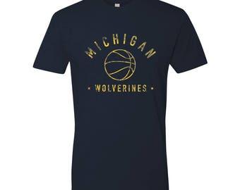 Michigan Wolverines Vintage Arch Basketball Premium Cotton T-Shirt