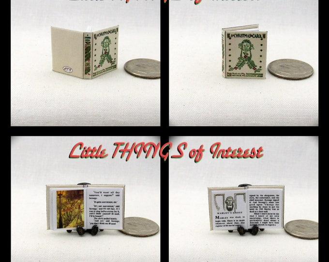 A CHRISTMAS CAROL Miniature Book 1:12 Scale Readable Illustrated Rackham Dollhouse Book Ghost Story of Christmas Past