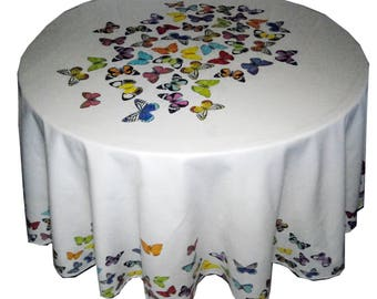Round 70 inches, 90 inches with Butterfly,  Large Round Tablecloth , Pure Cotton, made in Europe