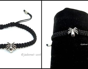 Bracelet  Homme - araignée - Réf. Br 026 - noir