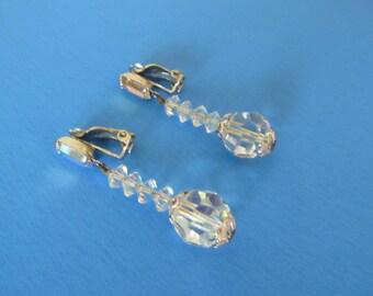 Vintage Lewis Segal of California Crystal Drop Clip Earrings, c. 1958, Signed