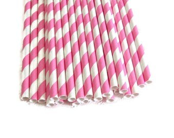 Bubblegum Pink Stripe Paper Straws 25 Count | Bright Pink Stripe Paper Straws | Pink Striped Straws | Pink Stripe Party Straws