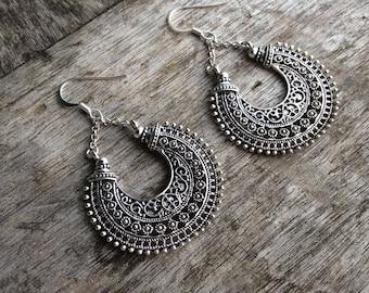 Boho earrings, Silver Tribal earrings, Mandala earrings, Gypsy, Etnhic, Flower mandala, Hippie earrings, Festival earrings, Hoop earrings.