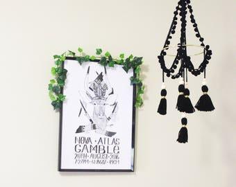 Boho mobile, nursery mobile, tassel mobile, black mobile, baby cot mobile, baby mobile, cot mobile, crib mobile, hanging mobile, boho decor