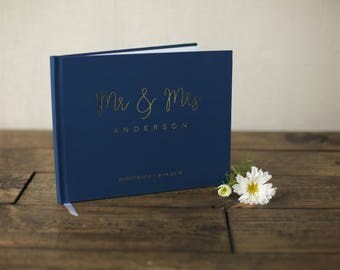 Navy Blue And Gold Wedding Guestbook. Real Gold Foil Wedding Guestbook. Custom Wedding Guestbook. Rose Gold GuestBook.