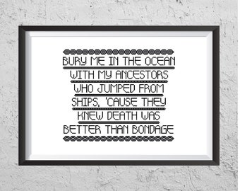 Bury Me In The Ocean - Modern Cross Stitch PDF - Instant Download