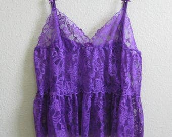 Purple Lace Camisole Plus Size - Sexy Vixen - Shirley of Hollywood