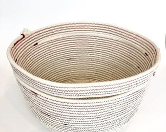 Handled Basket - Ready to Ship - White, Red and Gray