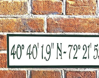 Coordinates sign, Latitude and longitude, GPS Coordinates, Location sign, House numbers, Personalized house address sign, Housewarming gift