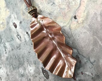 Handmade Copper Leaf With Adjustable Leather Cord