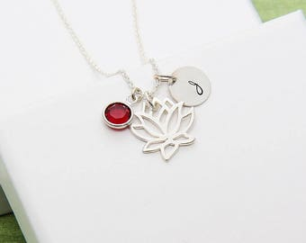Lotus jewelry etsy initial necklace lotus necklace sterling silver lotus necklace flower lotus necklace birthstone mozeypictures Image collections