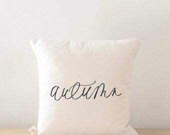 Throw Pillow - Autumn, calligraphy, home decor, fall decor, housewarming gift, cushion cover, throw pillow, seasonal pillow