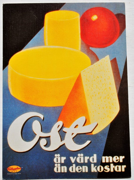 "Swedish Mid Century Modern Cheese Ad Falbygdens Postcard 8"" x 6"" Retro"