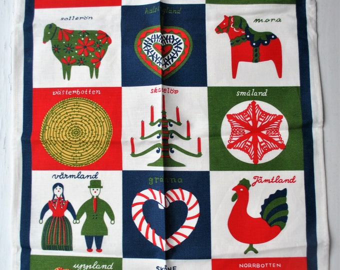 Swedish Christmas Folk Art Tea Towel Almedahls Retro