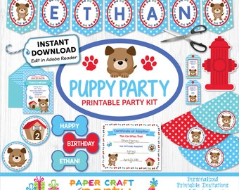 Puppy Printable Party Kit - Doggy Invite & Decorations - Puppy Dog Party - Instantly Download and Edit at Home with Adobe Reader