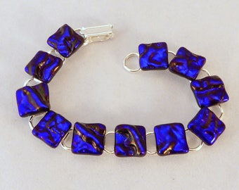 7 Inch Blue Dichroic Fused Glass Bracelet, 7 Inch, Fused Glass, Dichroic, Glass Bracelet, Dichroic Bracelet, Dichroic, Blue Bracelet, Blue