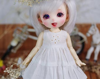 "Lati Yellow/ Puki Fee - ""Dreamy Blossom"" Patchwork Dress - WhiteSmock"