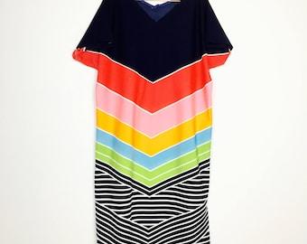 Maxi dress, 70s, 70s, block colors, extravagant