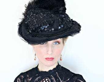 Antique Hat / Edwardian / 1910s Hat / Early sequins / Silk Chiffon / Feathers