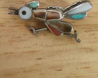 Old Pawn Sterling Silver Inlay Roadrunner Pin, Old Pawn Roadrunner Pin, Old Pawn Jewelry