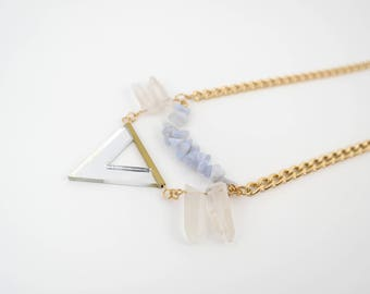 Crystal Quartz Necklace with light blue/white beads, Fashion Trendy Jewelry, Triangle Necklace, Edgy Necklace