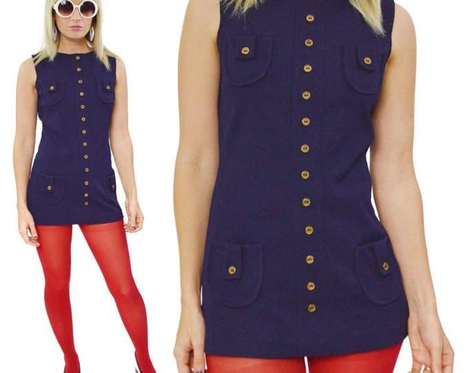 Vintage 60s Mod Short Sheath Blue Shirt Small Dress