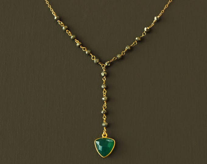 Rosary Y Necklace - Gold and Green Onyx Rosary
