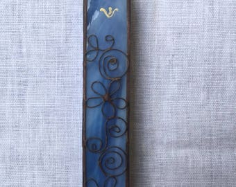 HANDMADE MEZUZAH CASE Blue Colors with Filligree.Stained Glass.