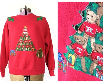 Ugly Christmas Sweater, Tacky Christmas Sweater, sweatshirt, vintage clothing, small women's  men's