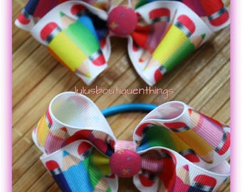 2 pencil ponytail holders bows