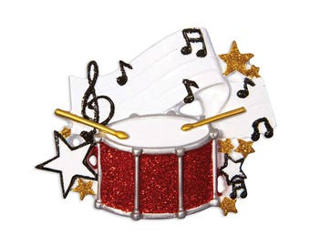 FREE SHIPPING Drums Personalized Christmas Ornament / Snare Drum Ornament / Drum Set / Marching Band / Percussion Christmas Ornament