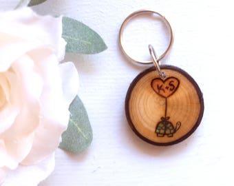 Custom Turtle Keychain, Heart and Initials, Heart Balloon Keychain, Cute Turtle Keychain, Wood Slice Keychain, Wood Burned Keychain