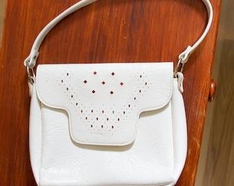 White faux leather retro bag