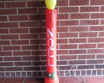 "Large37""  Blow Mold Candle.  Lighted Noel Christmas Candle. Yard Display, Lawn Decoration with Electric Cord and Light"