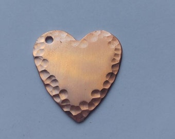 1/2 inch Hammered copper heart stamping blank - 18 gauge - Qty 5